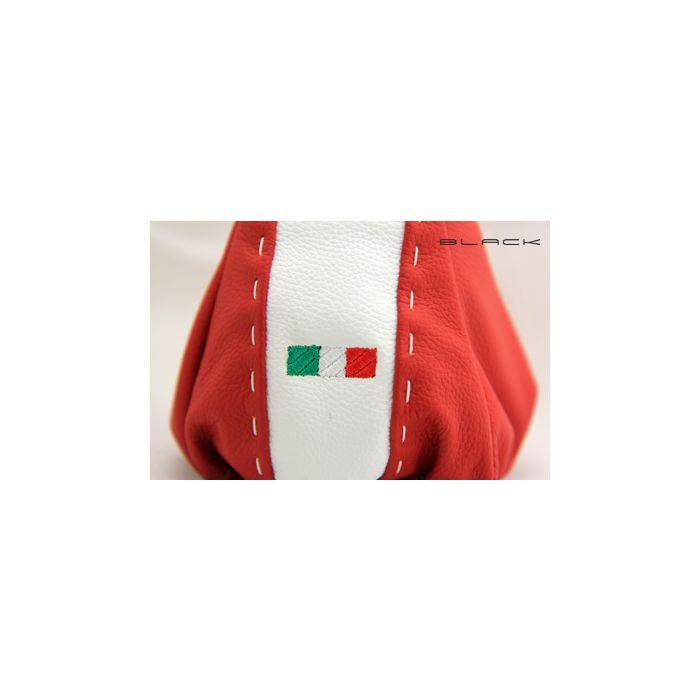 Cambio e Freno a Mano in Pelle Italiana color avorio nero 500/ricamo logo