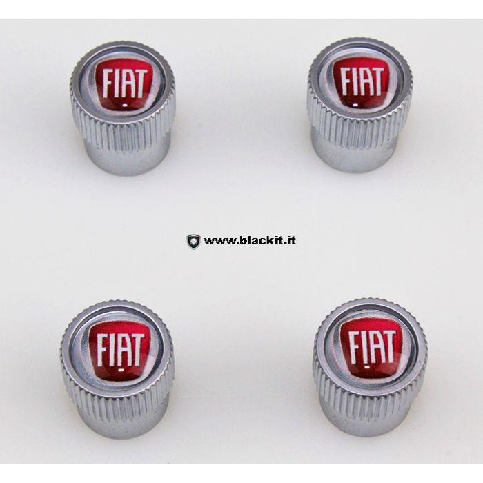 Set tappi valvole pneumatici con logo Fiat Neri